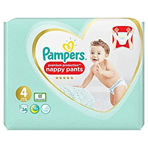 Pampers Pampers Premium Protection Nappy Pants Size 4 Essential Pack, 34 pk