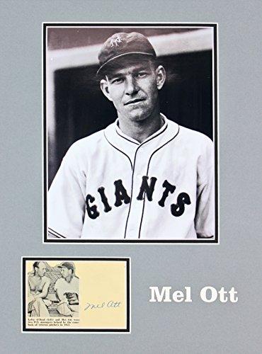 (Giants Mel Ott Authentic Signed & Matted 3x5.5 Postcard Autographed JSA #X32149 )