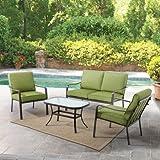 Mainstays Stanton Cushioned 4-Piece Patio Conversation Set, Green, Seats 4