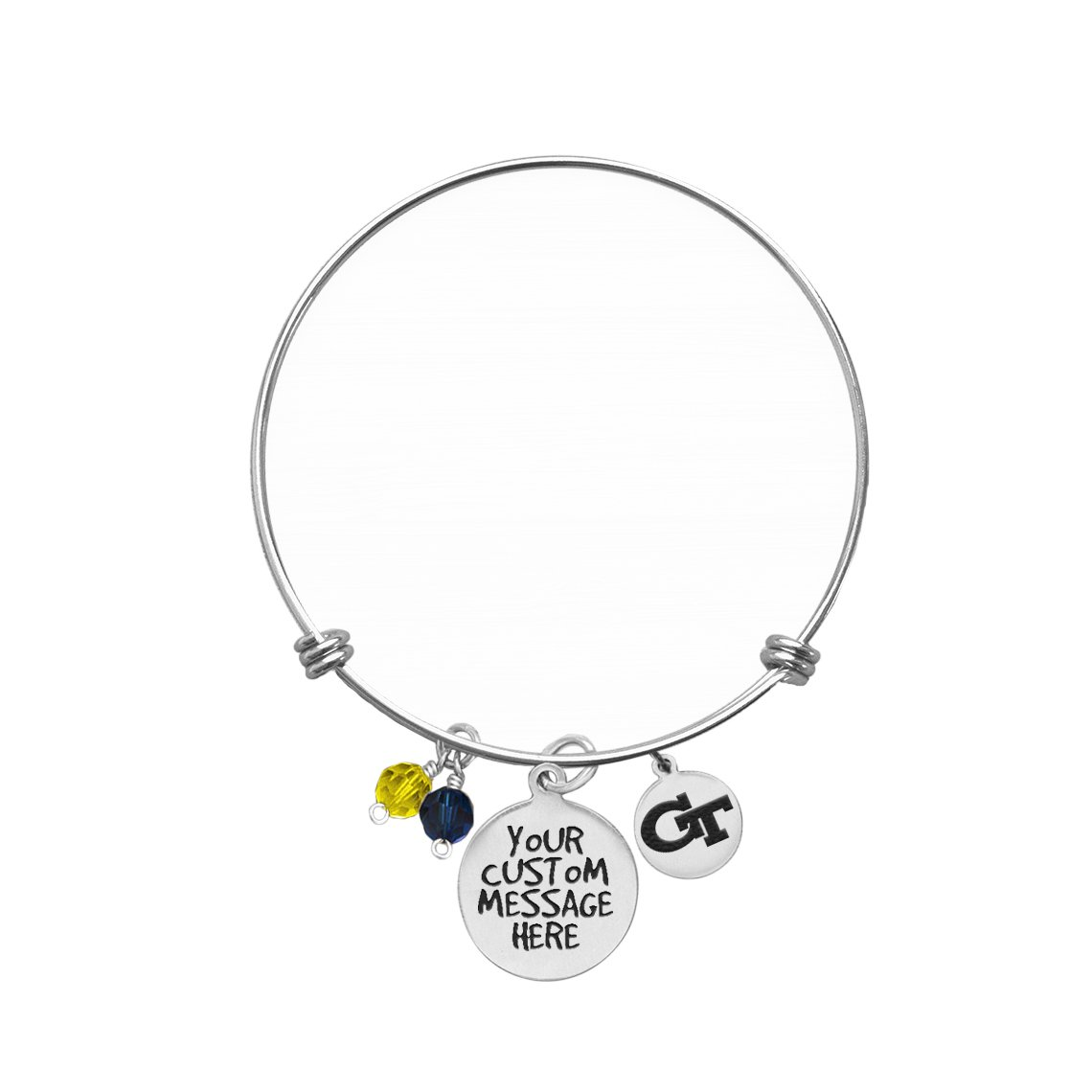 Georgia Tech Yellow Jackets Bangle Bracelet | Custom College Bracelets | Inspirational Bracelets