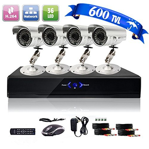 4CH H.264 Onvif CCTV DVR with 4 x 600TVL Night Vision Bullet Cameras (Cloud-Based Remote Access