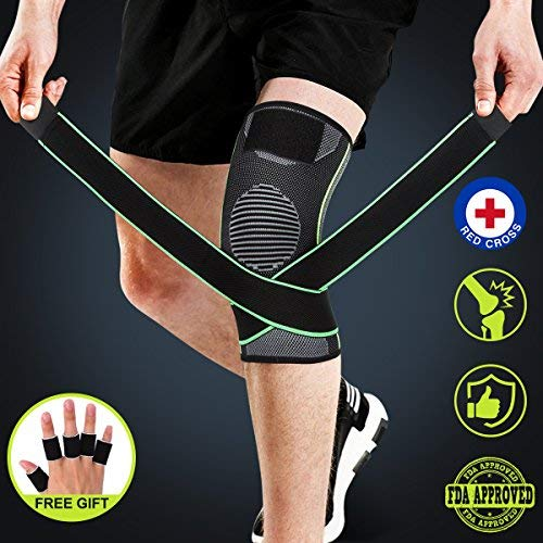 Knee Brace, Compression Knee Sleeve with Strap for Best Support, Free Gift for Finger Sleeves (5...