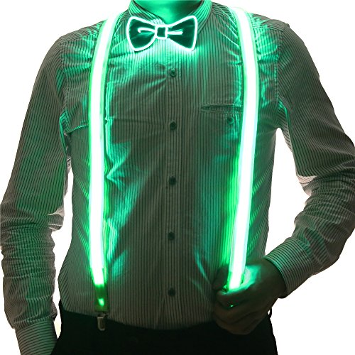 2 Pcs/Set, Good Quality Light Up LED Suspenders And Bow Tie,Perfect For Music Festival Halloween Costume Party (Green)