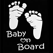 Boddenly Popular  Baby On Board  Baby Footprint Vinyl Car Graphics Window Vehicle Sticker Decal Decor