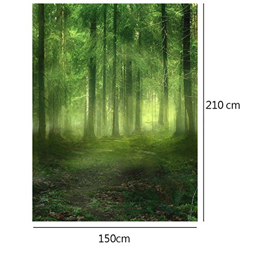 (Showyou 5x7ft Foggy Forest Photography Backdrop Silk Photography Background Studio)
