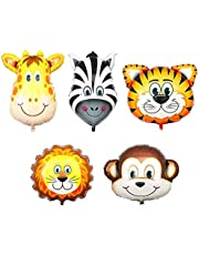 Jungle Safari Animals Balloons,5pcs 22 Inch Giant Zoo Animal Balloons Kit for Kids Boys Girls Jungle Safari Animals Theme Baby Shower Birthday Party Decorations Supplies