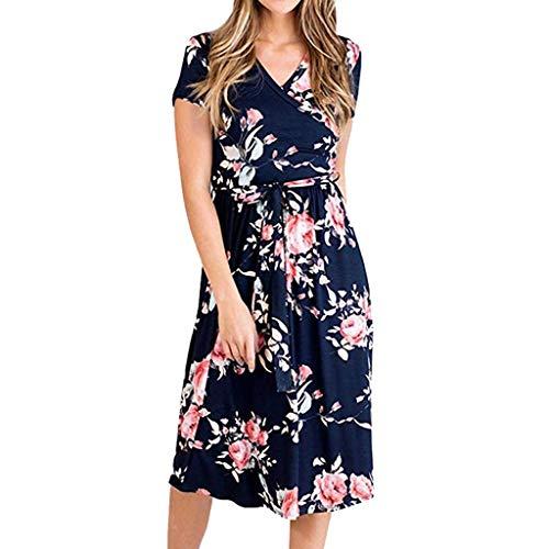 - TOTOD Women Summer Vintage Boho Straight Long Maxi Short Evening Ankle-Length Party Beach Dress Floral Sundress