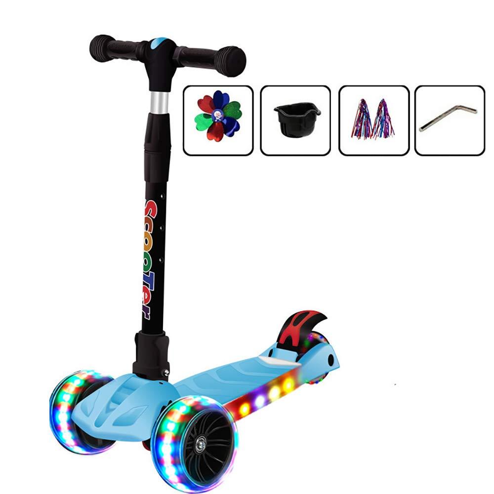 Admier Scooter 4 Ruote Tilt Steer-Pieghevole Regolabile in Altezza con Lampada da Corsa per Cavalli Musica PU Lampeggiante Ruote Wide Deck per Bambini da 3 a 12