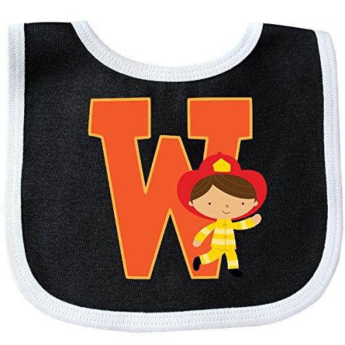 ter Letter W Monogram Fireman Baby Bib Black/White 2230f ()