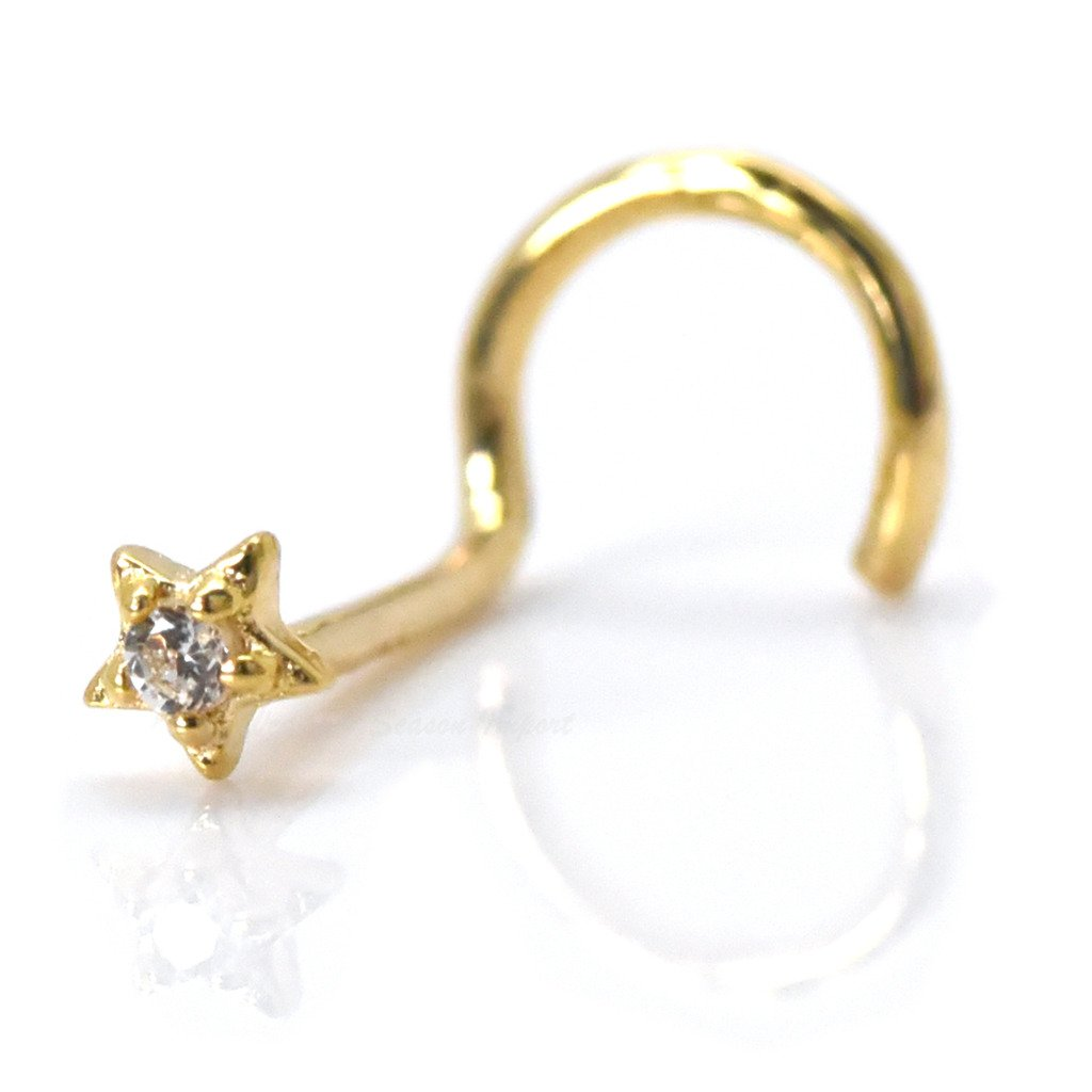 Trendy Earrings by WSI Nose Piercing Stud 2.3mm Tiny Star with Cubic Zirconia 14k Gold Screw Twist Cartilage Jewelry