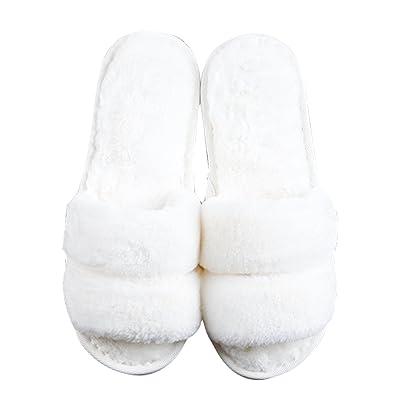 Cattior Womens Fleece Open Toe Slippers Fluffy Slippers