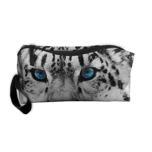 Portable Outdoor Cosmetic Toiletry Clutch Bag Black And White Snow Leopard Cheetah Storage Pouch Pencil -