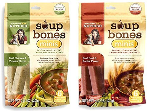 Variety Rachael Ray Nutrish Soup Bones Minis Dog Treats For Smaller Dogs Real Beef & Barley and Real Chicken & Veggies - Each Pack 4.2 oz/ 6 Chew Treats (Minis) by Rachael Ray