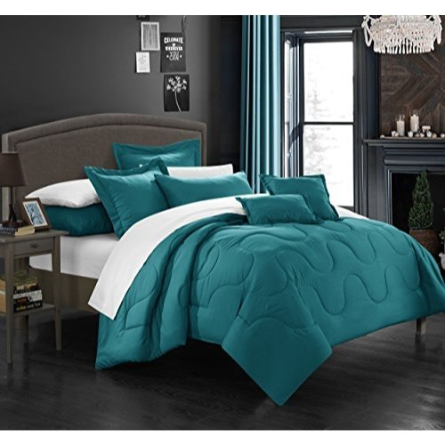 Chic Home Donna 7 Piece Comforter Set Minimalist Solid Color Design with Pillows Shams, Queen Teal
