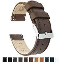 BARTON Quick Release Top Grain Leather Watch Strap - Choice of Colors & Widths (18mm, 20mm or 22mm) - Saddle Brown 22mm Watch Band