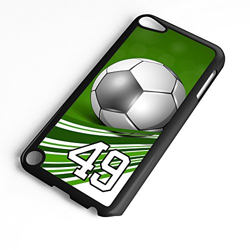 Generation 5 Soccer Ball Green Swirl Stripes Any Custom Jersey Number 49 Black Plastic (Swirl Soccer Goalie Jersey)