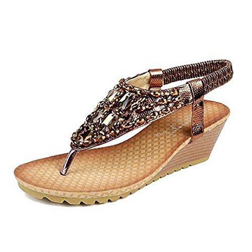 GIY Women's Bohemian Wedges Sandals with Bling Platform Summer Beach Platform Bling Comfort Roman Elastic Flip Flops B07CFWVX6Q Parent 7b9259