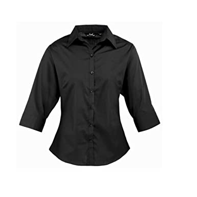 da535c11c Women's poplin 3/4 Short Sleeve blouse, Ladies Plain Work Shirt-Black-Size  6: Amazon.co.uk: Clothing