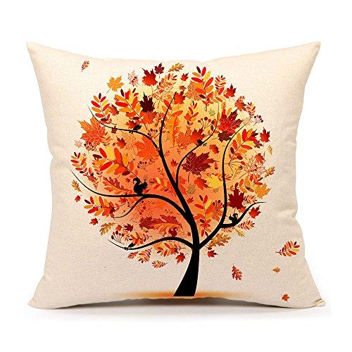 Autumn Fall Tree Cotton Linen Square Throw Pillow Case Decorative Cushion Cover Pillowcase Cushion Case for Sofa 18 x 18