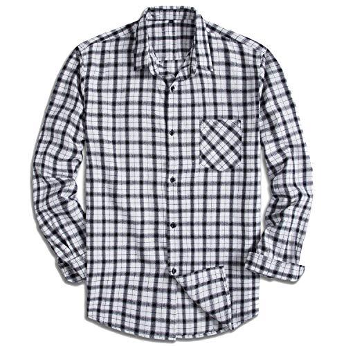 Yangxinyuan Men's Cotton Long Sleeve Plaid Fleece Shirt Button Up Flannel Shirt (YXY1005, 2XL) ()