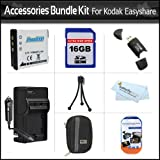 16GB Accessories Bundle Kit For Kodak EasyShare Touch M580 M575 M550 M530 Digital Camera Includes Replacement Extended (1000 Mah) KLIC-7006 Battery + AC/DC Travel Charger + Hard Case + 16GB High Speed SD Memory Card + USB 2.0 SD Reader + More