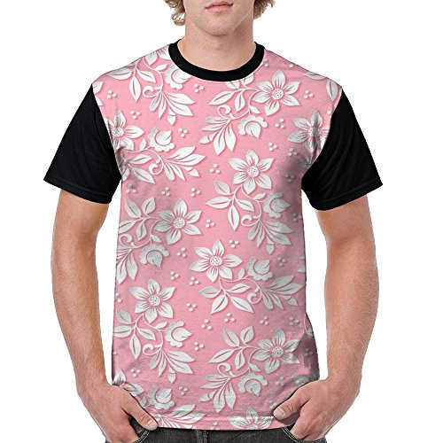 Abstract Floral Flower Pink Texture Men's Round Collar Short-Sleeved T-Shirt Front (Nancy Floral Quilt)
