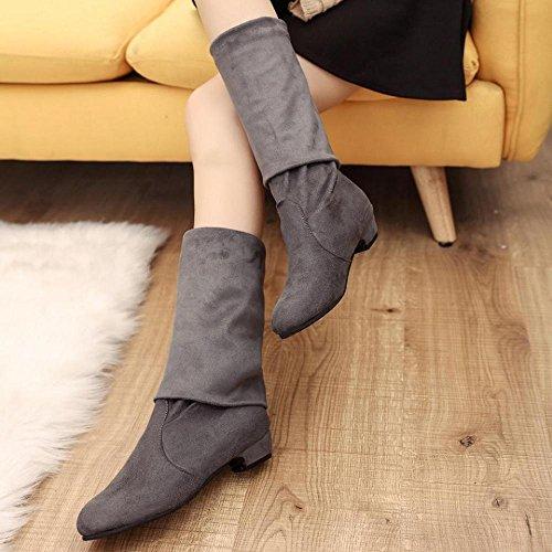 FTXJ Women Ladies Soft Slim Over Knee High Boots Low Heel Shoes Gray g1Yn2PeCt1