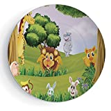 iPrint 7'' Zoo Ceramic Decorative Plates Animals in The Forest Cartoon Illustration African Safari Jungle Ecosystem Greenery