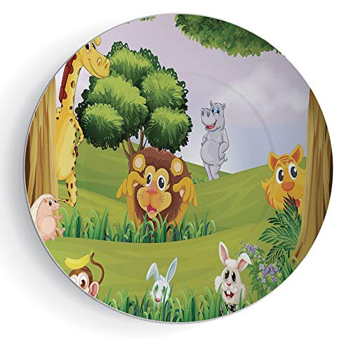 iPrint 7'' Zoo Ceramic Decorative Plates Animals in The Forest Cartoon Illustration African Safari Jungle Ecosystem Greenery by iPrint
