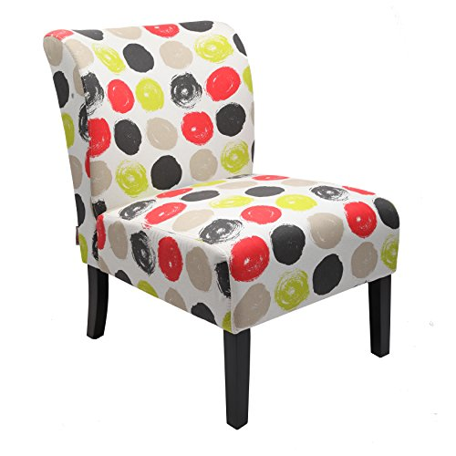 Finnkarelia Upholstered Armless Accent Chair for Living Room or Bedroom Oversize Wood Leg Contemporary Style Side Chair Lounge Chair Pattern Fabric