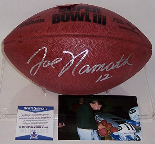 (Joe Namath #12 Autographed Hand Signed Super Bowl 3 III Official Wilson NFL Leather Football - BAS Beckett Authentication)