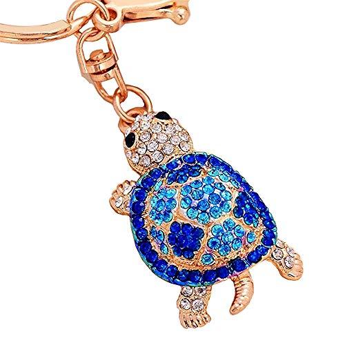 Cute Tutle Rhinestone Alloy Women Car or Bag Keychain (Dark Blue Turtle)
