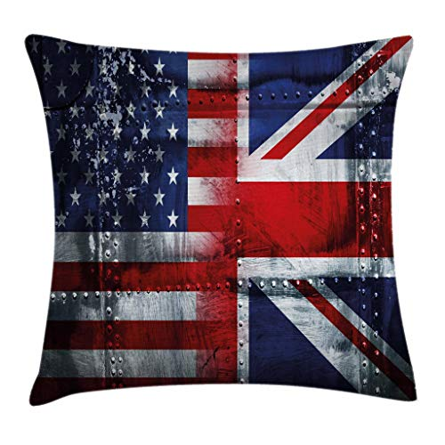(Ambesonne Union Jack Throw Pillow Cushion Cover, Alliance Togetherness Theme Composition of UK and USA Flags Vintage, Decorative Square Accent Pillow Case, 18 X 18 Inches, Navy Blue Red)