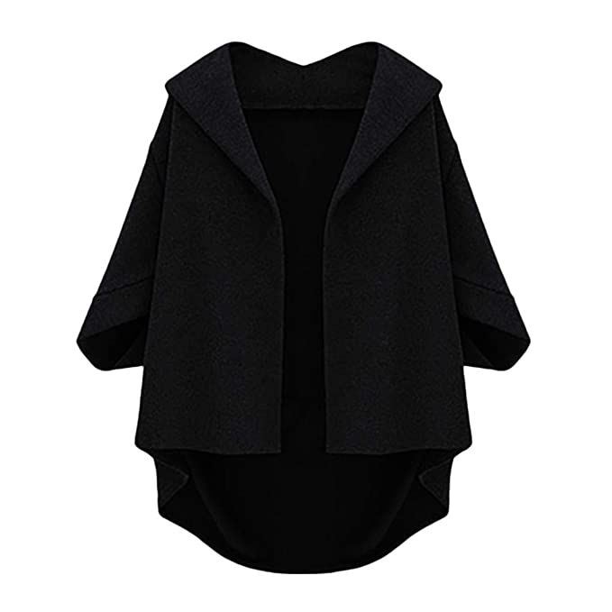 KpopBaby Womens Autumn Bat Sleeves Cropped Sleeves Five Plus Winter Woolen Coat BK 3XL
