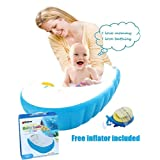3 BEES Intime® Safety First Large Capacity Best Cheapest Baby Inflatable Bath Tub With Soft Cushion Central Seat,Plastic Mini Air Swimming Pool Kids Thick Foldable Shower Basin,Free Inflator Included(Blue)