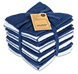 AMOUR INFINI Terry Dish Cloth   Set of 8   12 x 12 Inches   Durable, Super Soft and Absorbent  100% Cotton Dish Rags   Perfect for Household and Commercial Uses   Blue
