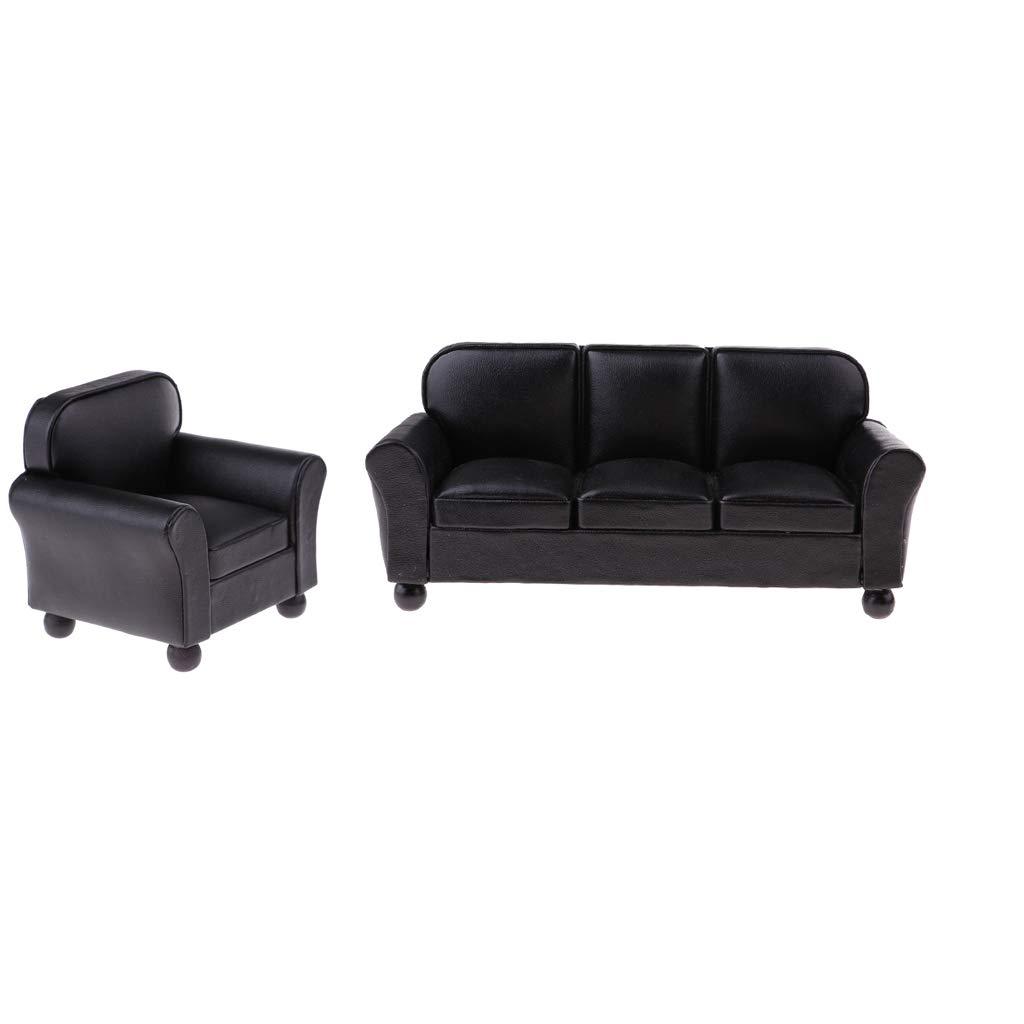 CUTICATE 1//12 Muebles De Casa De Mu/ñecas Sof/á De Cuero Juegos De Modelos En Miniatura Accesorio Negro