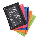 IDS Pack of 5 Zippered Binder Pencil Pouch 3 Ring with Rivet Enforced Hole for 3 Ring Binder Pencil Case with Clear Window (5Colors)