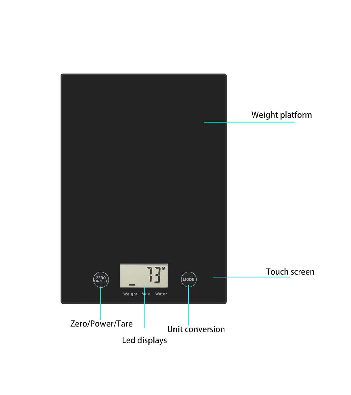 Cucsaist Básculas de Cocina Básculas electrónicas Vidrio Templado Pantalla táctil Cocción de Alimentos Báscula para Hornear 5 kg: Amazon.es