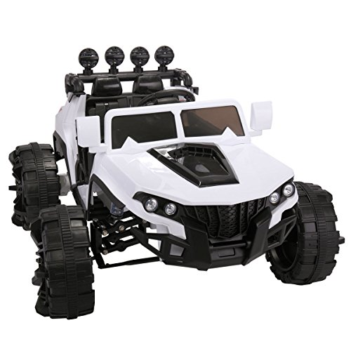 JAXPETY 12V Kids Ride On Truck Jeep Car Battery Powered Electric Car W/2.4GRemote Control White (12 Powered Kids Volt Cars Battery)