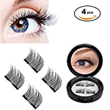 SKINOSM 3D Magnetic Eyelashes by WEBSUN, Reusable False Eyelashes for Natural Look (1 Pair 4 Pieces), No Glue Required Fake Mink Lashes