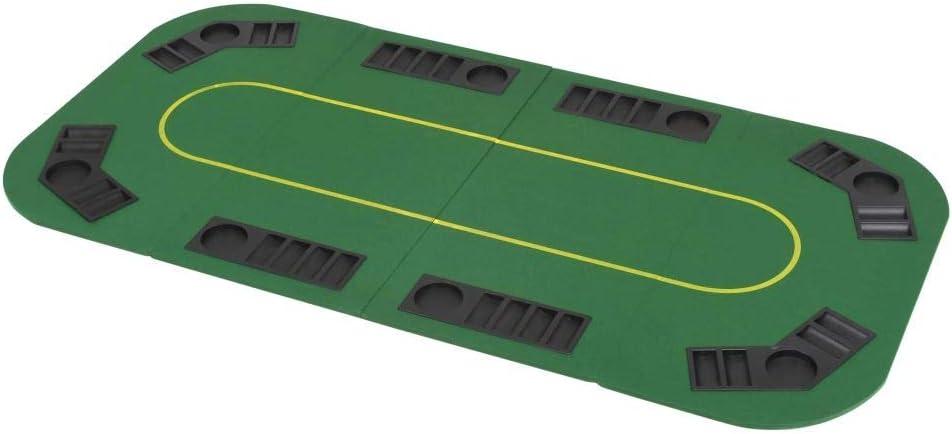 Tidyard Table de Poker Pliable pour 8 Joueurs 4 Plis Rectangulaire Vert 160 x 80 cm