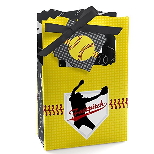 (Grand Slam - Fastpitch Softball - Birthday Party or Baby Shower Favor Boxes - Set of 12)