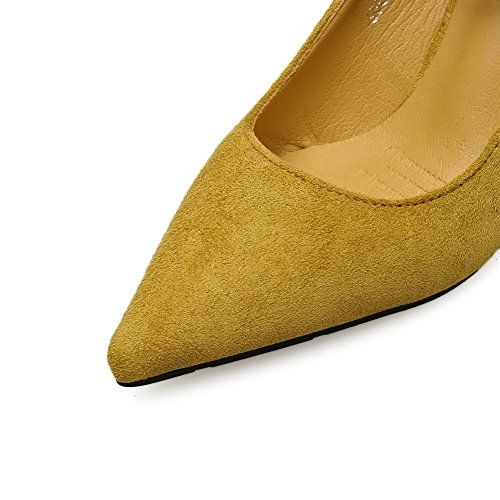 Ankle Pointed Suede Wrap Shoes Unique Toe Pumps Yellow Platform AdeeSu Womens XFw1q4