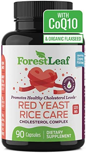 Red Yeast Rice Care with COQ-10 and Organic Flaxseed – Supports Cardiovascular Health – 1215mg – 90 Vegetable Capsules – Daily Dietary Supplements