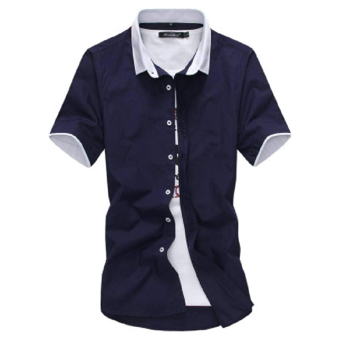 Abeaicoc Men Slim Color Block Short Sleeve Casual Button Front Shirt