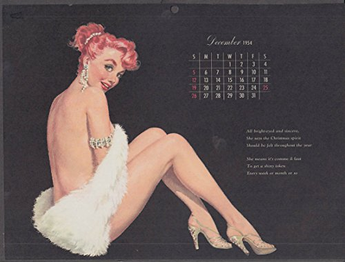 (Ernest Chiriaka Esquire pin-up calendar page 12 1954 redhead white fur stole)