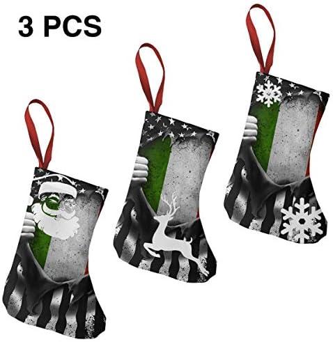 クリスマスの日の靴下 (ソックス3個)クリスマスデコレーションソックス イタリア クリスマス、ハロウィン 家庭用、ショッピングモール用、お祝いの雰囲気を加える 人気を高める、販売、プロモーション、年次式