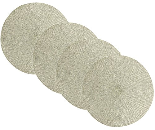 Benson Mills Sparkle Round Placemats (Champagne/Silver-Gold, 15