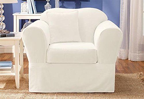 Twill Supreme Separate Seat Chair Slipcover White